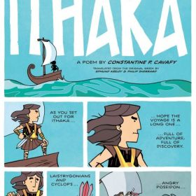Poem Ithaka by K. Kavafis in cartoon
